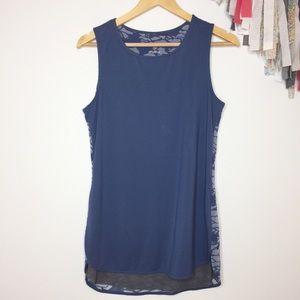 Tangerine sleeveless blue top small lightweight